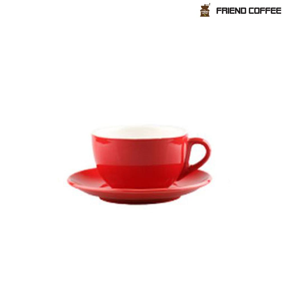 YJ 카페라떼 커피잔 받침 레드 350ml
