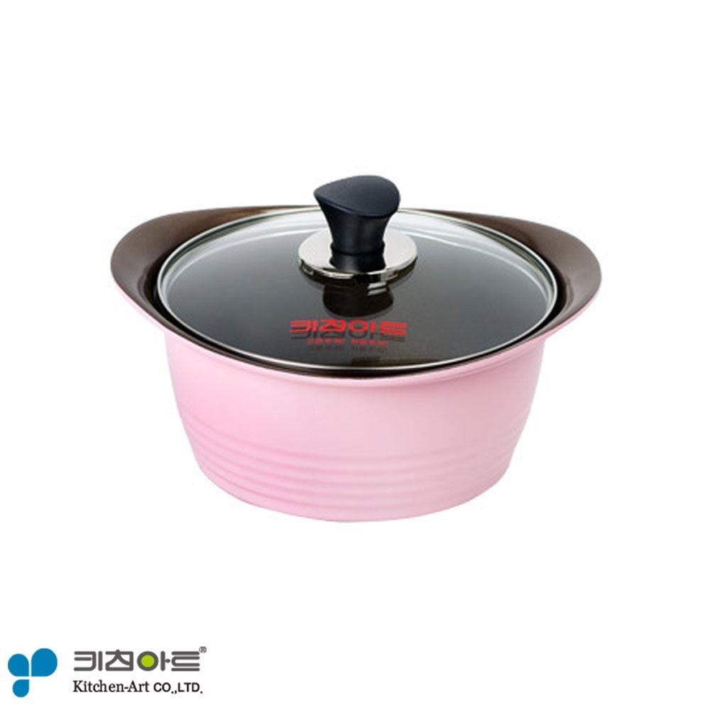 키친아트 핑크 세라믹 냄비 양수 24cm