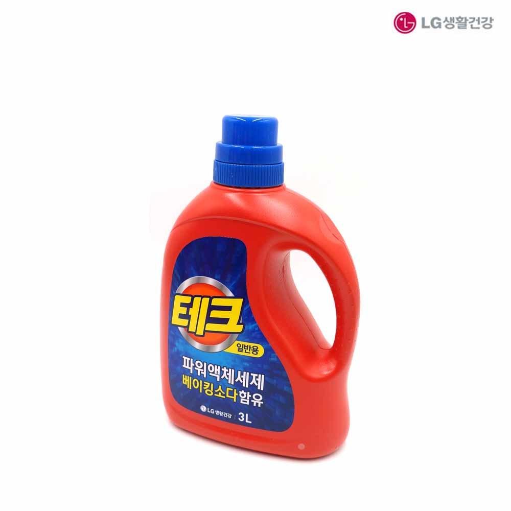 물세제 테크 일반용 파워 액체세제 용기 3L 1EA 액상세제 세탁세제 고농축 일반세탁기용