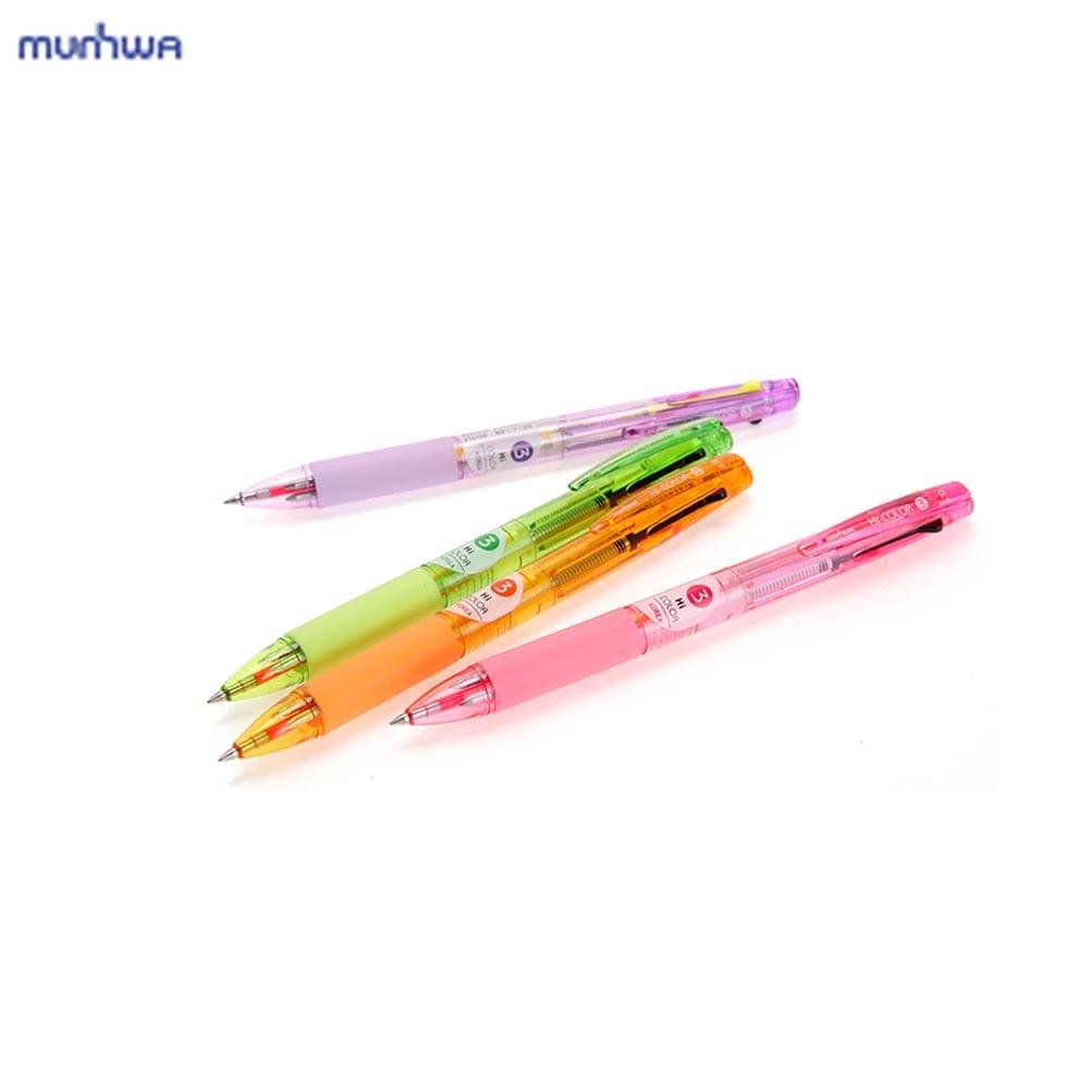 문화 하이컬러 3색 볼펜