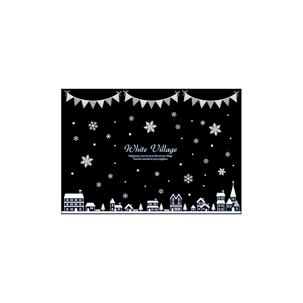 크리스마스 유리창 스티커 화이트 빌리지 가랜드