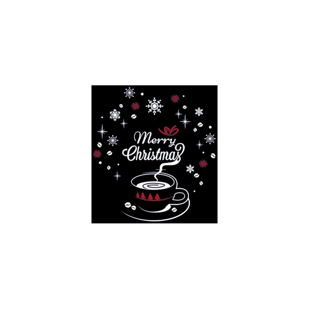 크리스마스 유리창 스티커 크리스마스의 커피한잔