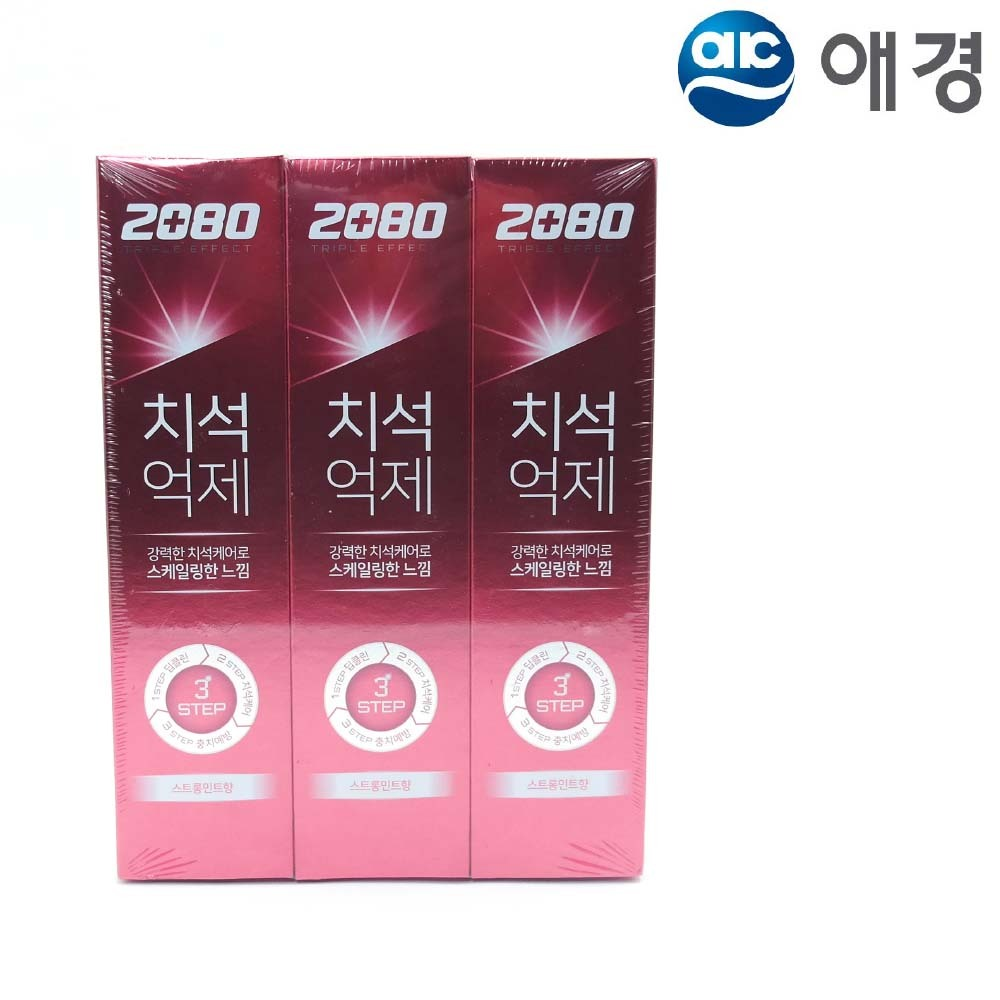 2080 트리플이펙트 치약 스트롱민트 140g 3개입