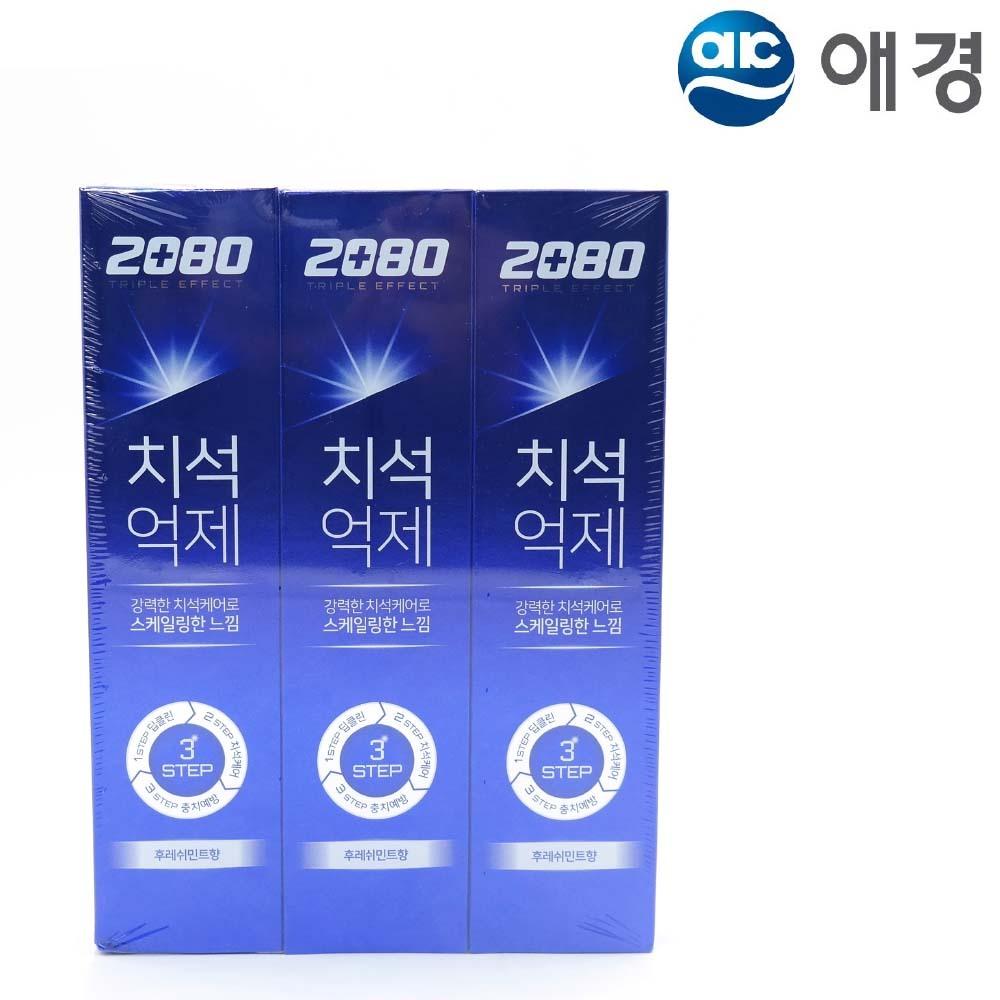 2080 트리플이펙트 치약 후레쉬민트 140g 3개입