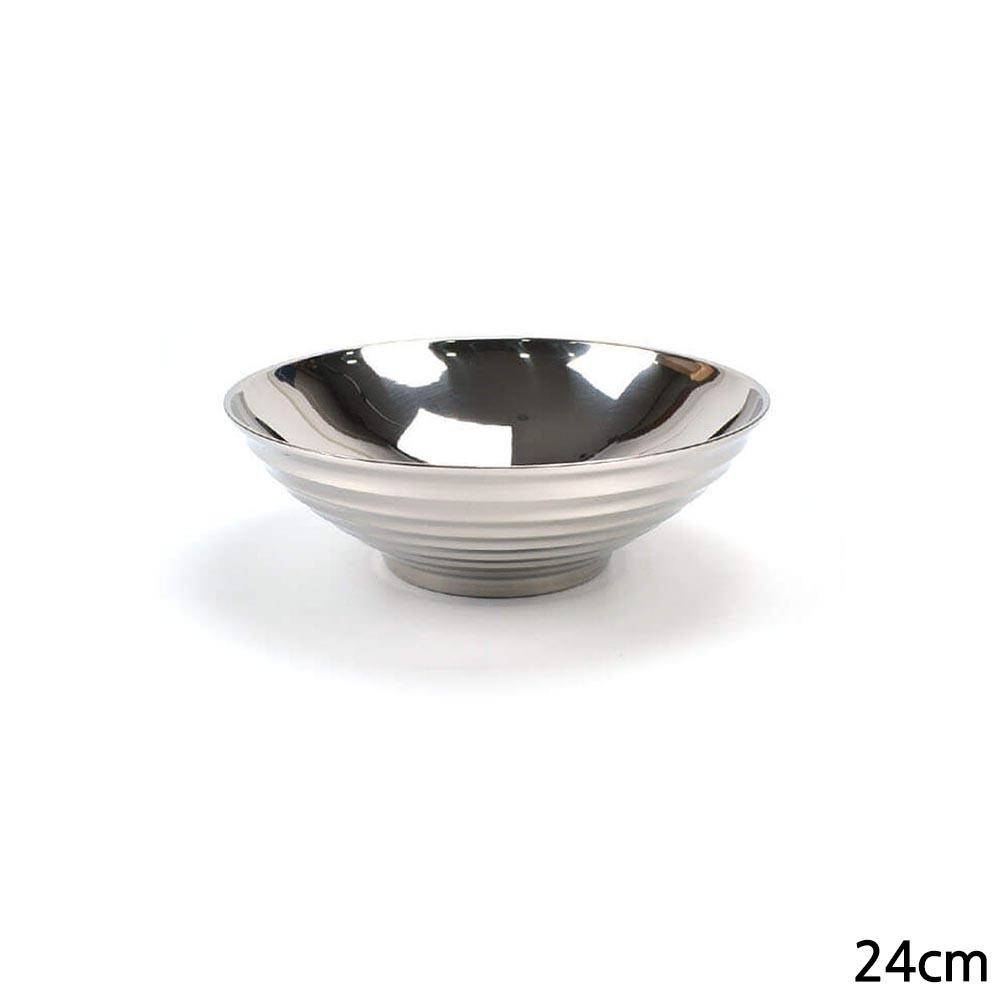 N7 리린 스테인레스 물결무늬 V형 이중면기 대접 24cm