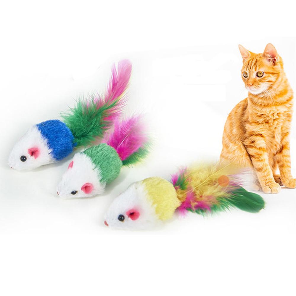 레인보우 깃털 마우스 고양이장난감
