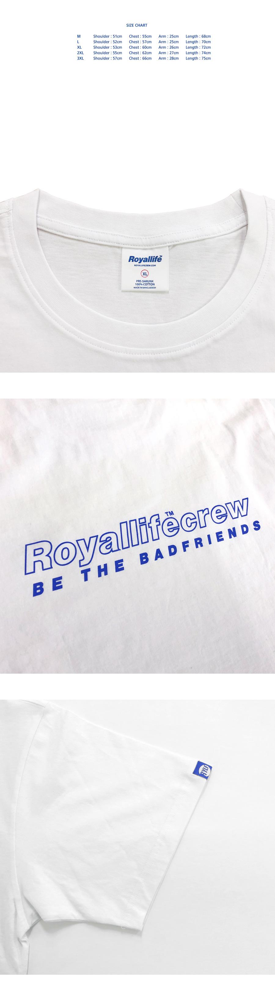 로얄라이프(ROYALLIFE) RL442 스트로크 로얄라이프 크루 로고 반팔 티셔츠  - 블랙
