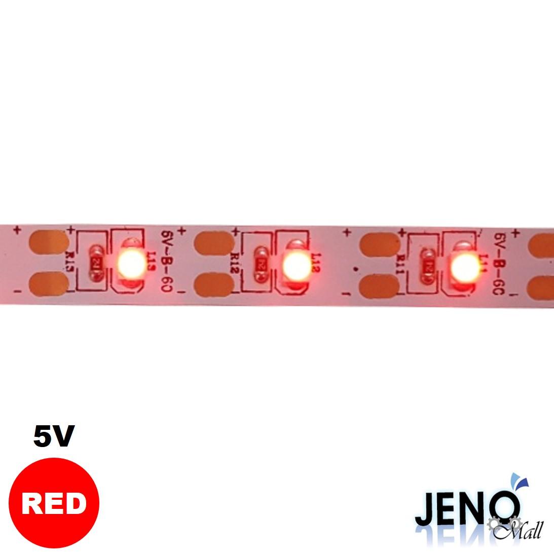 플렉시블 5V 레드 LED 스트립 바 3528-60 8mm (HDL1303)