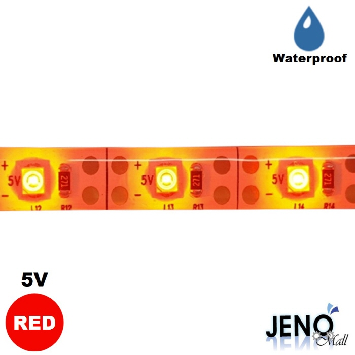 플렉시블 5V 레드 방수 LED 스트립 바 3528-60 8mm (HDL1403)