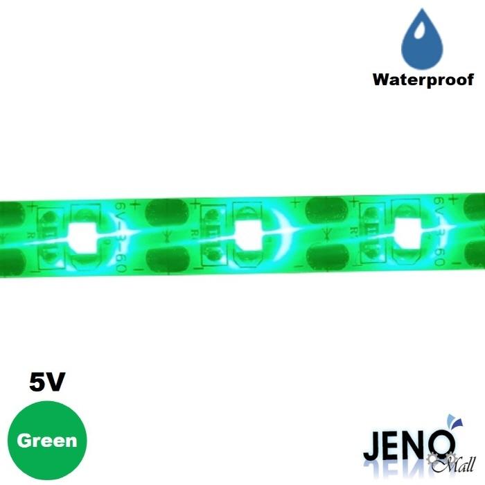 플렉시블 5V 그린 방수 LED 스트립 바 3528-60 8mm (HDL1405)