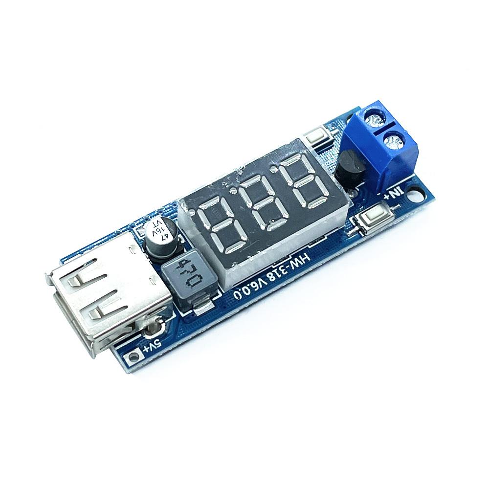 DC-DC 비절연 강압벅컨버터모듈 전압표시 충전기 IN 4.5-40V OUT 5V 2A USB (HAM1306)