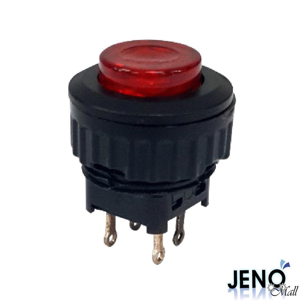 4핀 푸쉬온 락 전원 스위치 DC LED 레드 ON-OFF 16mm (HAS0405)