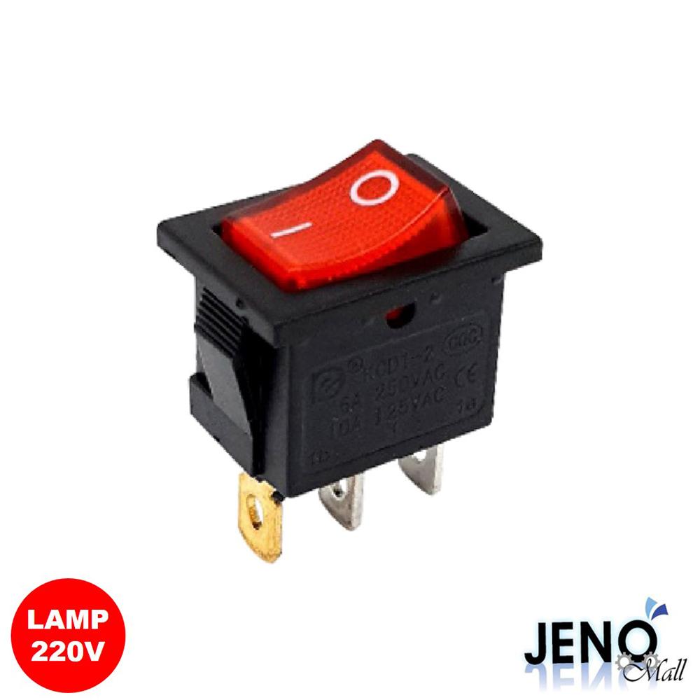 2단 3핀 전원 로커 스위치 사각형 AC LAMP ON-OFF 레드 19x13mm (HAS0114)