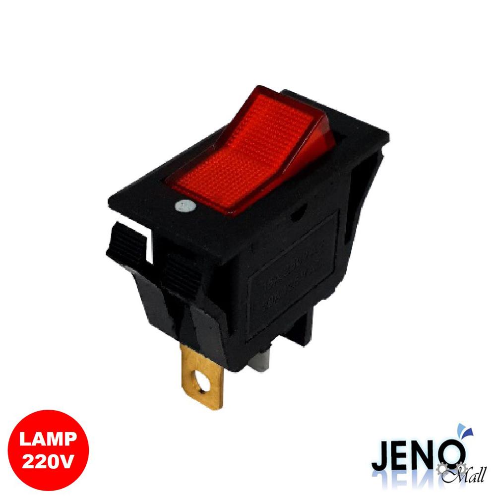 2단 3핀 전원 로커 스위치 사각형 AC LAMP 레드 ON-OFF 28x13mm (HAS0710)