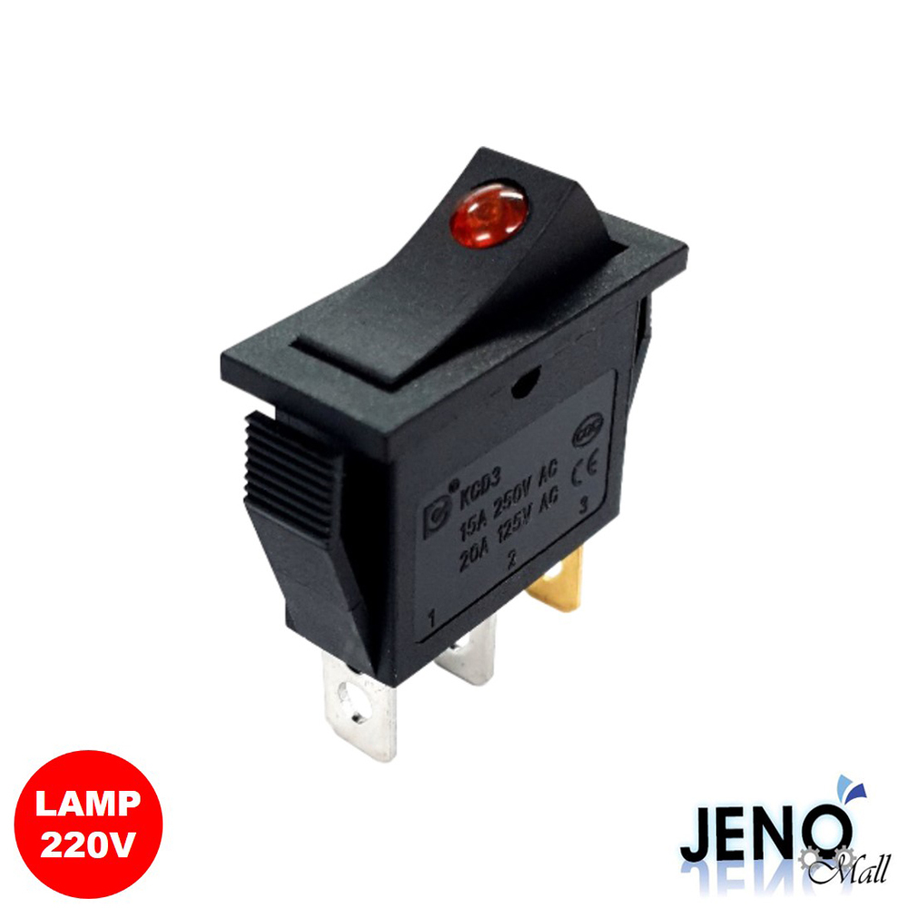 2단 3핀 로커 스위치 사각형 220V AC LAMP 빨간색 ON-OFF 28x10mm (HAS0826)