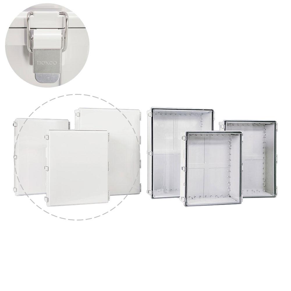 박스코 300x200x180mm ABS플라스틱케이스 경첩타입 매미고리 회색커버 전기/하이박스 (BC-AGR-203018)
