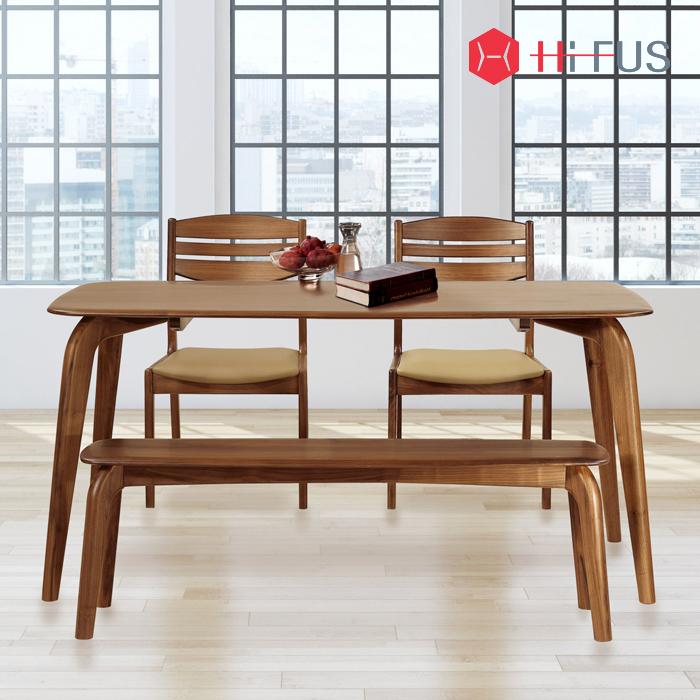 하이퍼스 HFT-8811 실비오 호두 원목 식탁 4인세트
