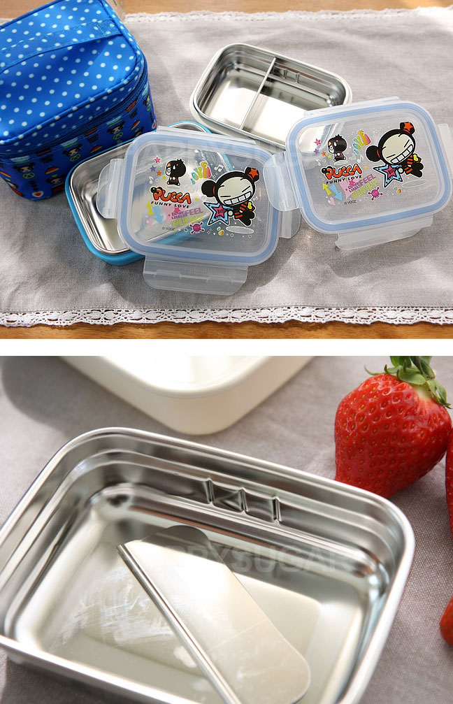 pucca cute bento stainless steel double lunch box bag set korean ebay. Black Bedroom Furniture Sets. Home Design Ideas