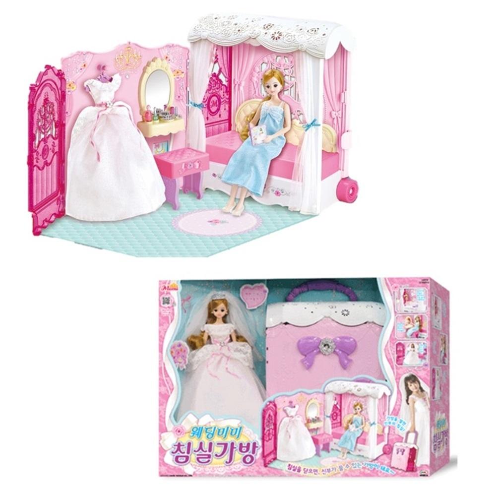 생일선물 미미공주 드레스 인형놀이  침실가방 초등화장놀이 화장놀이