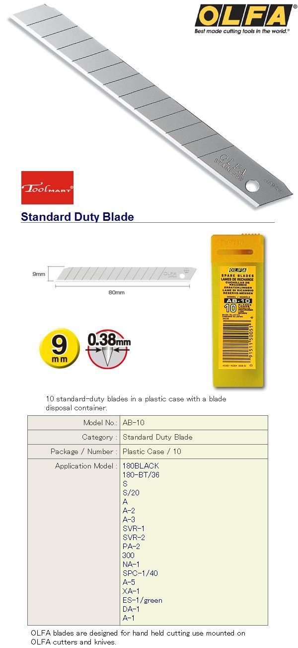 Olfa AB-10-10 standard-duty blades in a plastic case.