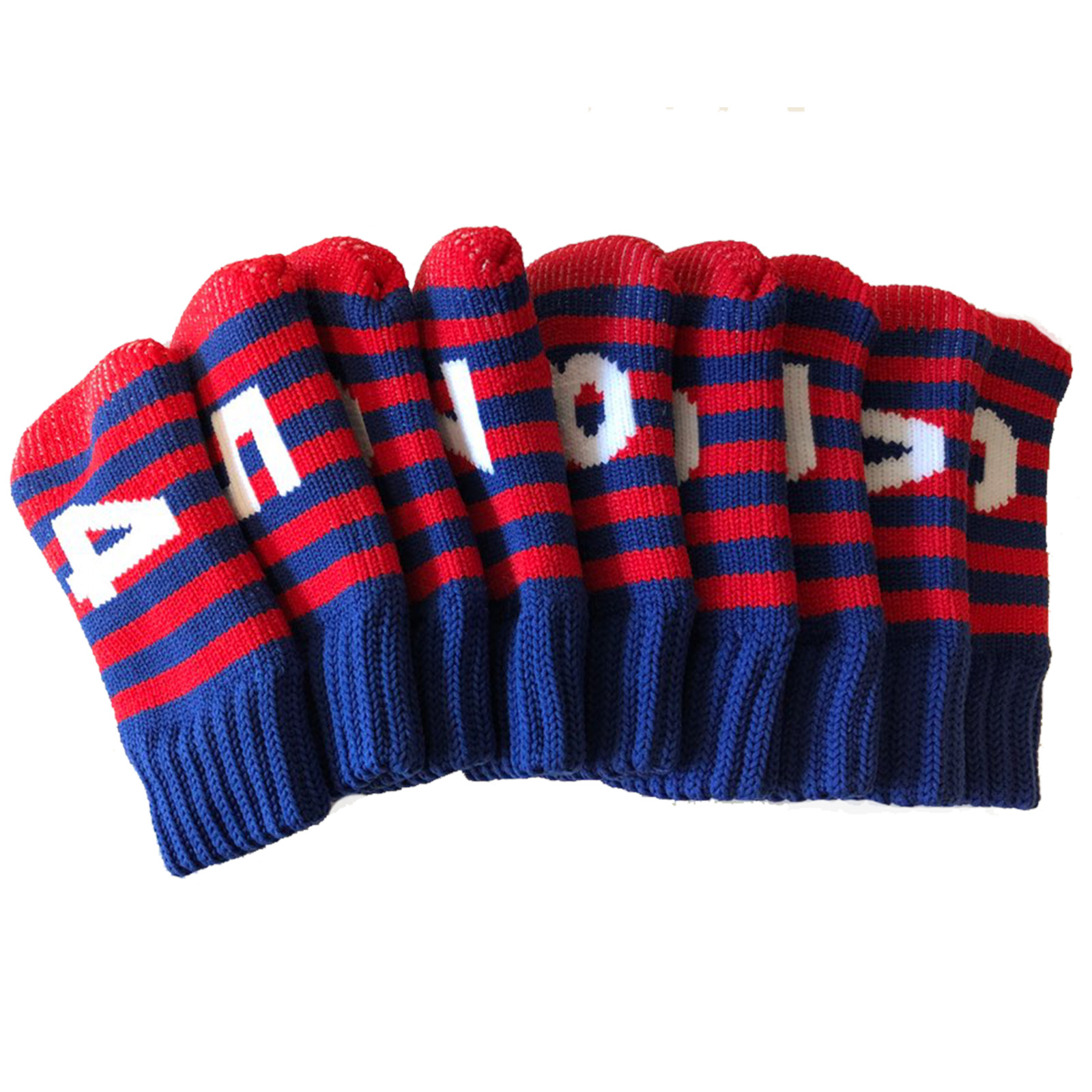 Iron Golf Club Head Covers Set Knit Socks Style Headcover Red Blue