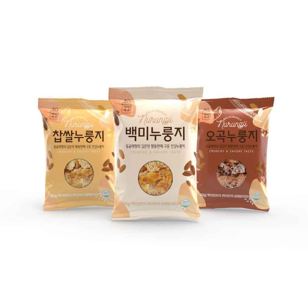 미식백과 누룽지 3종 24봉 60g (백미8봉+찹쌀8봉 +오곡8봉) 이미지