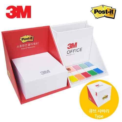 [3M] 큐브 오피스 포스트잇 디스팬서(포스트잇300매+견출지5색) 이미지